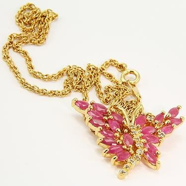 7: 3 CT Ruby Diamond Butterfly Pendant