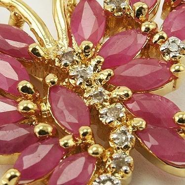 7: 3 CT Ruby Diamond Butterfly Pendant - 3
