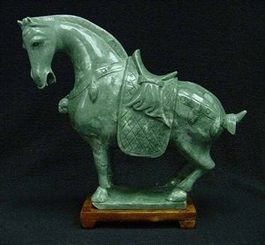 60: REAL JADE SADDLED TANG HORSE