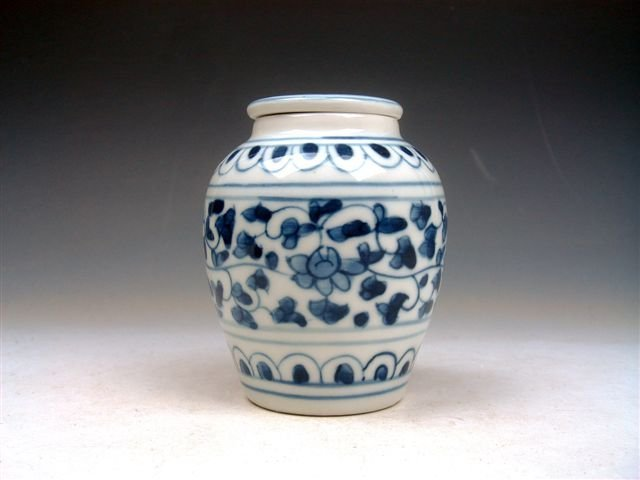 14: Chinese Overlay Flowers Hand Painted Medicine Jar
