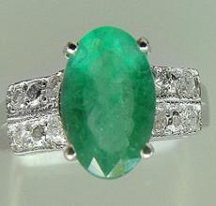 32: 1.65 CT Emerald Diaomond Ring Appraised $9,450