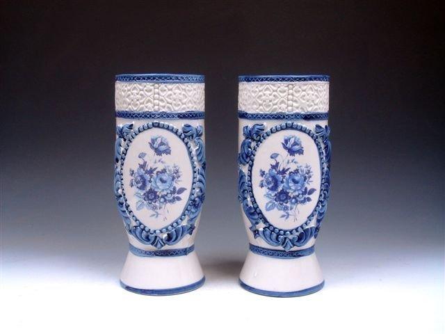 7: Antique Set Pair Overlay Flowers Painted Porcelain V