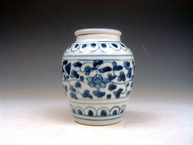 14: Chinese Overlay Flowers Hand Painted Medicine Jar