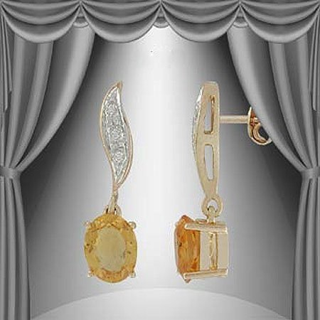 8: 1.6 CT Citrine Diamond Dangle Earrings