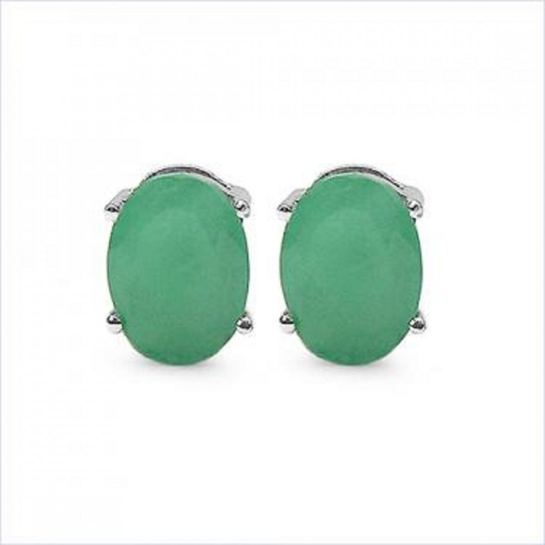 18: 3 CT Cabochon Emerald Stud Earrings