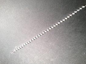 1.63 CTW Diamond Tennis Silver Bracelet