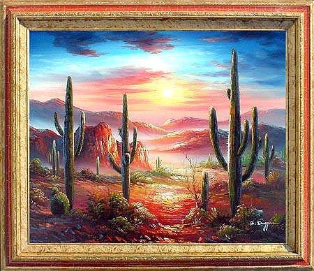 Framed Oil Painting on canvas - Arizona Sky