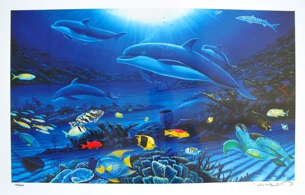 Wyland IN THE COMPANY OF DOLPHINS Limited Ed. Hand Sign