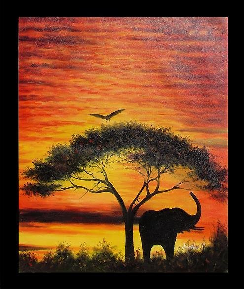 Large Hand Signed Oil Painting, African Sunset