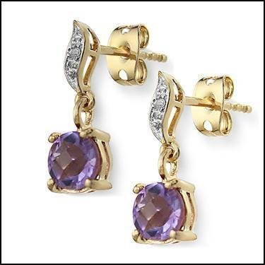 1.6 CT Amethyst Diamond Dangle Earrings