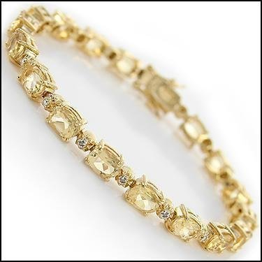 Lovely 10 CT Citrine Diamond Tennis Bracelet