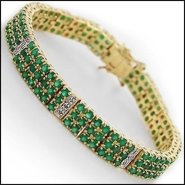 22 CT Emerald and Diamond 3-Row Bracelet