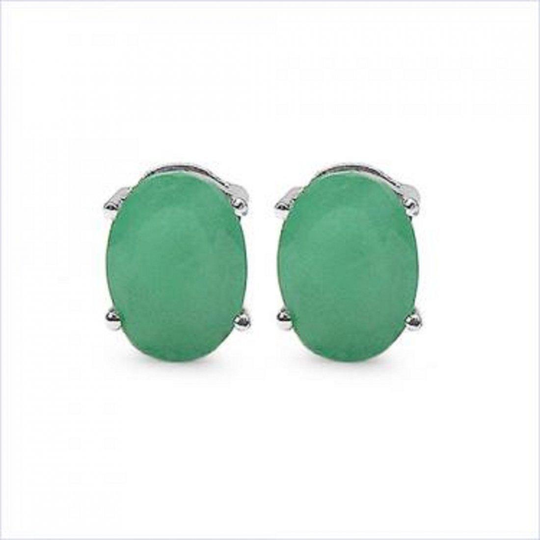 3 CT Cabochon Emerald Stud Earrings