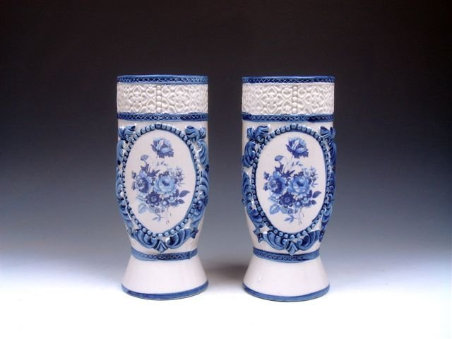 Antique Set Pair Overlay Flowers Painted Porcelain Vase