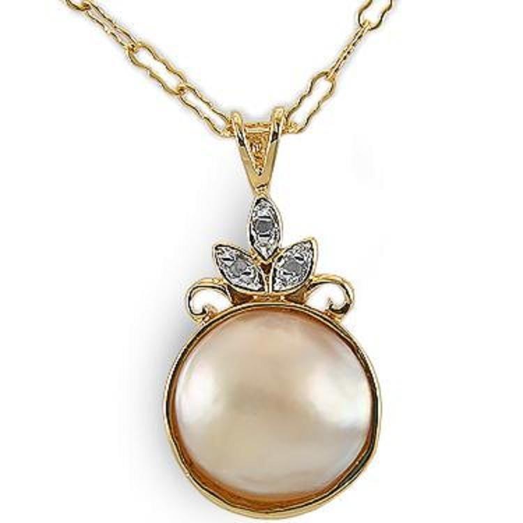Genuine 13mm Pearl Diamond Pendant