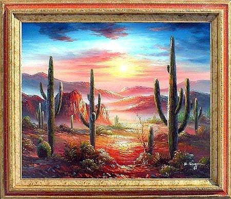Framed Oil Painting on canvas - Arizona Sky