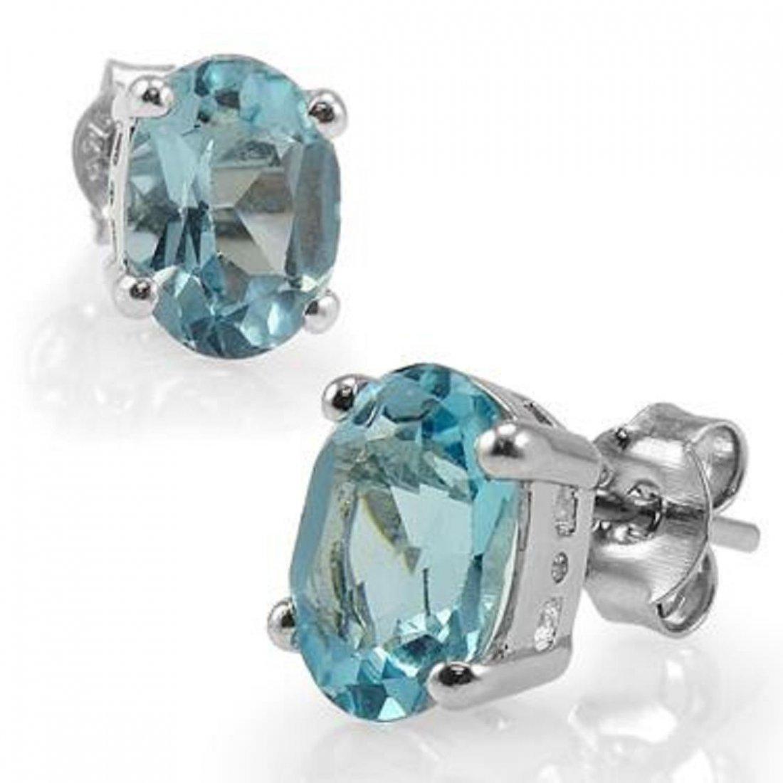 Genuine 3 CT Blue Topaz Earrings