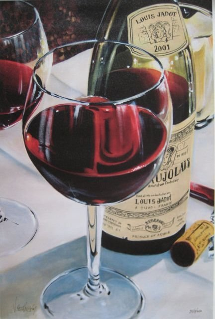 Victor Ostrovsky BEAUJOLAIS Signed Giclee on Canvas