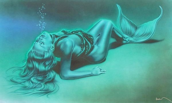 Noah MERMAID Large Hand Signed Giclee on Canvas