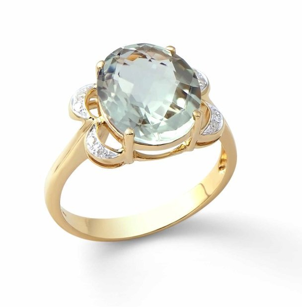 4.23 Ct Green Amethyst & Diamond 14KY Ring $5,608.00