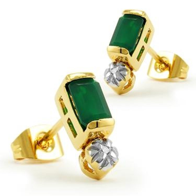 1.3 CT Emerald Cut Emerald and Diamond Earrings