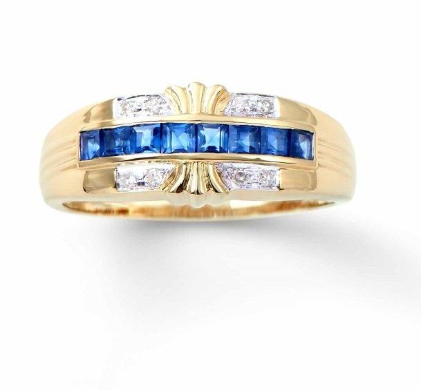 0.58 CT Blue Sapphire & Diamond 14KY Ring $3,966.00