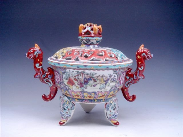 Famille-Rose Tripod Incense Burner Jar Pot Dragon Eleph