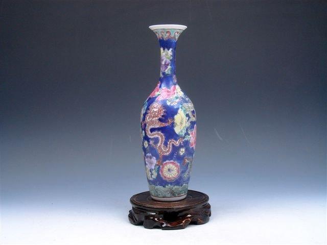 Famille-Rose Dragons Eggshell Extra Thin Porcelain Vase
