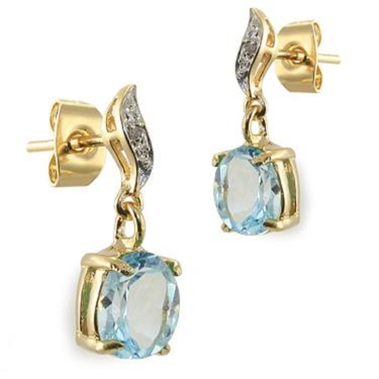 1.6 CT Blue Topaz Diamond Dangle Earrings