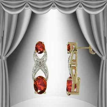 3.3 CT Garnet Diamond Earrings