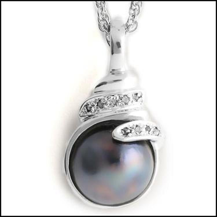 13mm Grey Mobe Pearl Diamond Pendant
