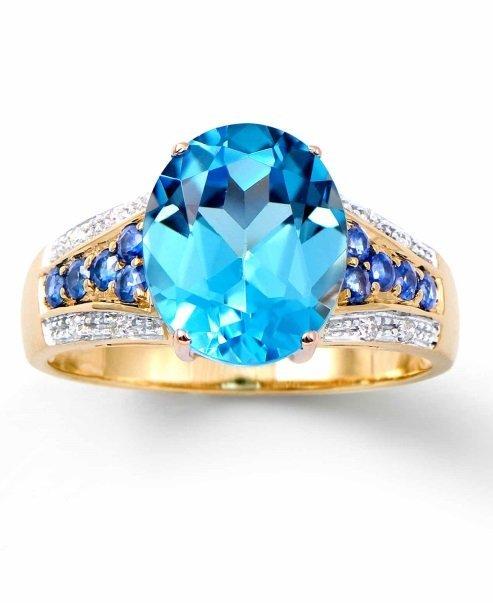 4.55 CTW Certified Sapphire & Blue Topaz YG Ring $4,257