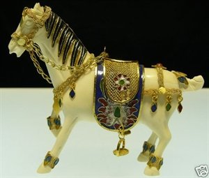 Hand Carved Cow Bone & Cloisonne Horse