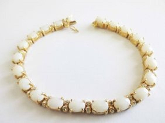 13.19 CTW White Indian Opal & Diamond 18K Fine Bracelet