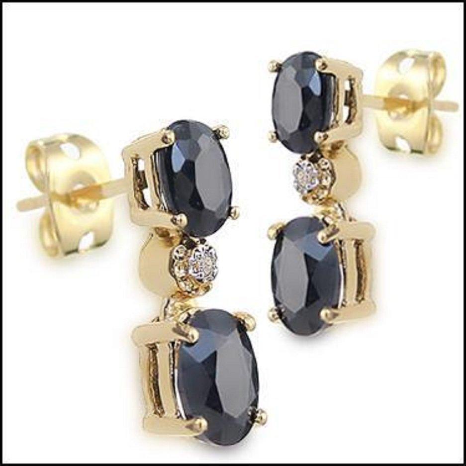 3.67 CT Sapphire & Diamond 18K Designer Earrings $925