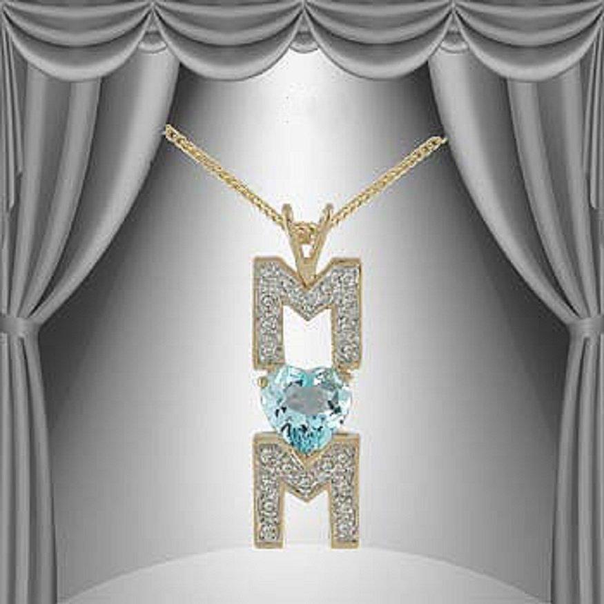 3.55 CT Heart Blue Topaz & Diamond Necklace $815