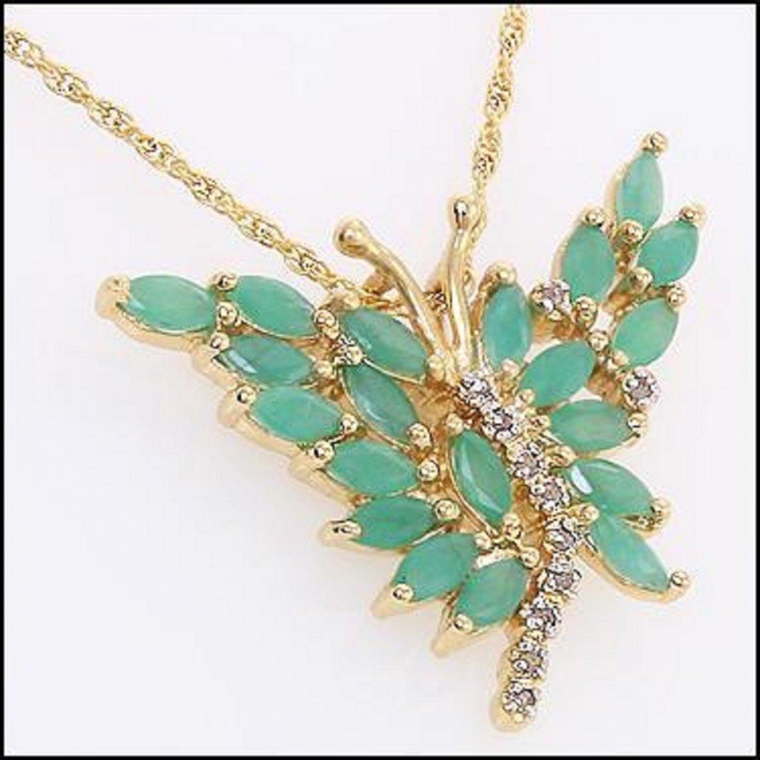 3.89 CT Emerald & Diamond 18K Designer Necklace $1180