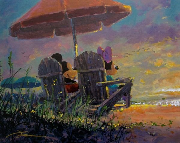 """James Coleman """"OUR SUNSET"""" Mickey & Minnie Mouse Hand"""