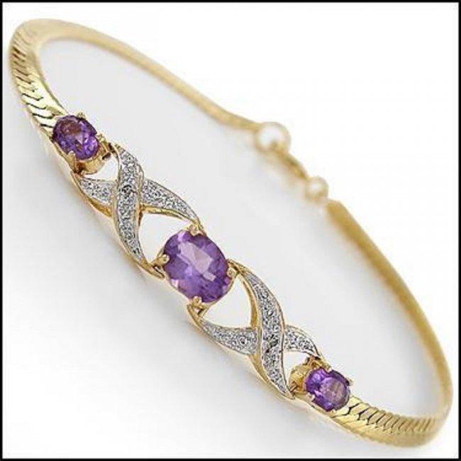 3.69 CT Amethyst & Diamond 18K Designer Bracelet $965