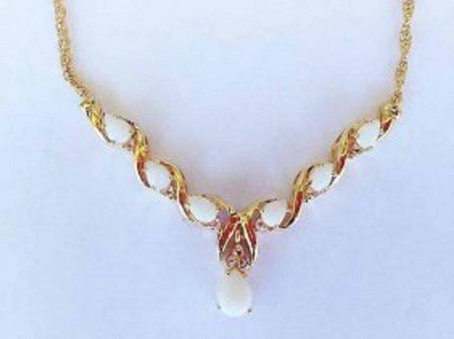 7.69 CT White Opal & Diamond 18K Designer Necklace