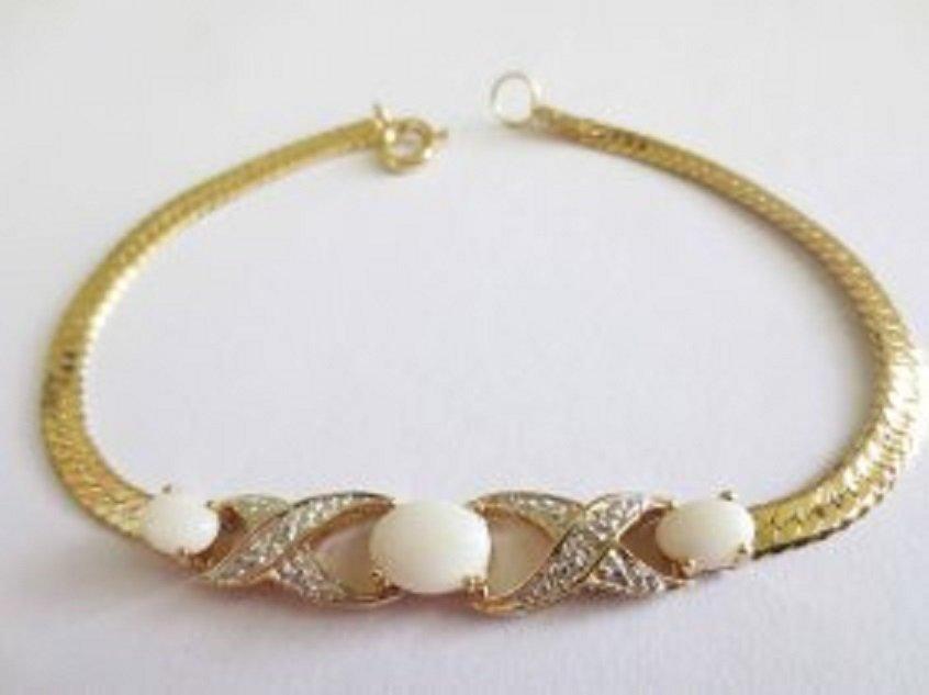 2.79 CT White Indian Opal & Diamond 18K Fine Bracelet