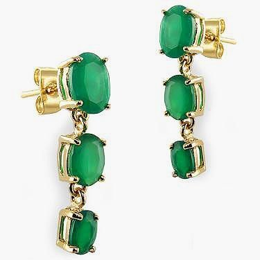 3.9 CT Emerald Past Present Future Gold Earrings