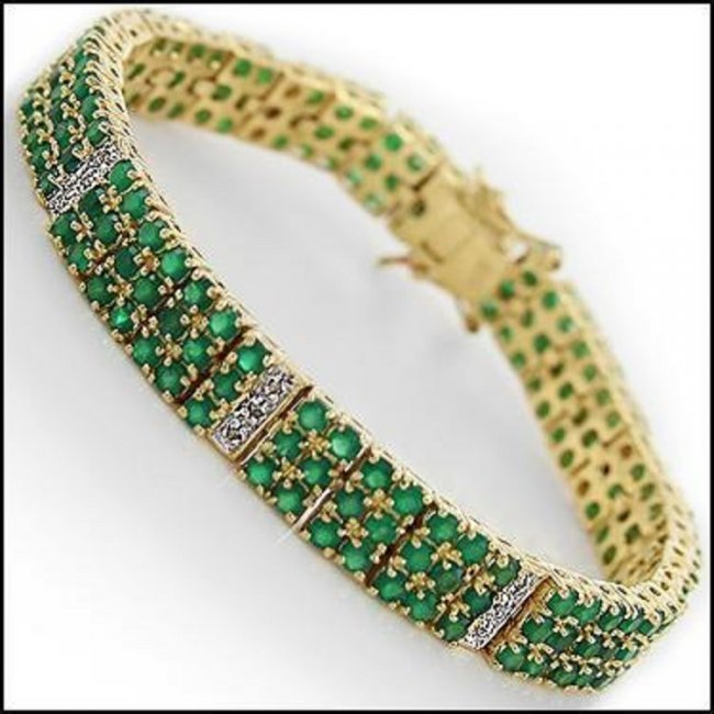 22.19 CT Emerald & Diamond 18K Designer Bracelet