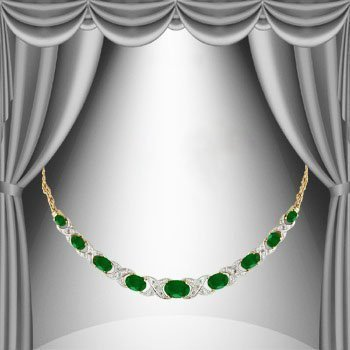11 CT Emerald Diamond Elegance Necklace