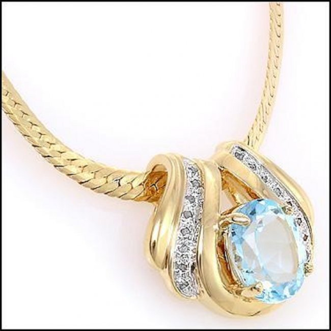 7.49 CT Blue Topaz & Diamond 18K Designer Fine Necklace