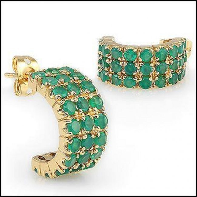 Jewelry Sale 6.02 CT Emerald 18K Stud Designer Earrings