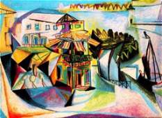 CAFE AT ROYAN Picasso Estate Signed Gicle