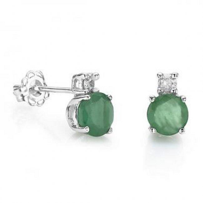 3 CT Green Agate Diamond Stud Silver Earrings