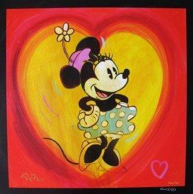 Simon Bull I Heart Minnie Mouse Hand Signed Giclee