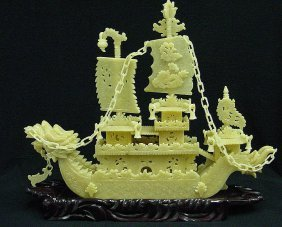 "Hand Carved Yellow Jade 24"" Dragon Boat"